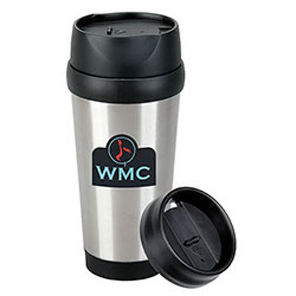 "Take a ""modern"" approach to your marketing efforts with this 16 oz. tumbler in your lineup of promotional items. Built with stainless steel walls, this exclusive tumbler features a leak-resistant, plastic screw-on lid, which allows it to travel well. With a polypropylene liner for prolonged heat, the thermos measures 3 1/4"" x 7 3/4"". Order this tumbler today and give it your logo to send you brand on-the-go with the modern commuter!"