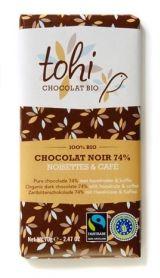 Tohi 70g. Ciocolata Organica neagră 74% cacao cu alune de padure si cafea