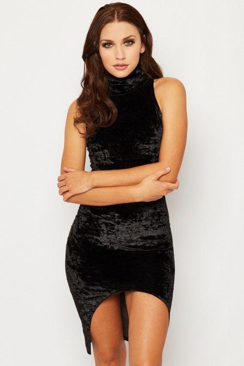 Olive Velvet Sleeveless Polo Neck Dress | WearAll