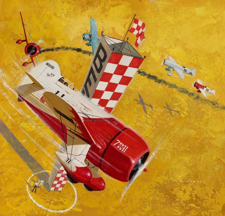 ED VALIGURSKY - art for 1932 Cleveland National Air Races - Mixed media on board