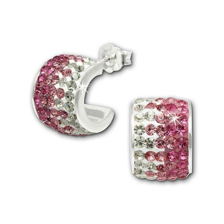 Cercei SilberDream argint creole cu zirconii albe roz intens