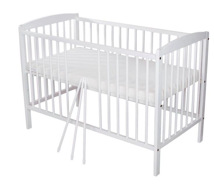Baby Bett Kinderbett Massiv Gitterbett 120 x 60 Weiß mit Matratze 60 x 120