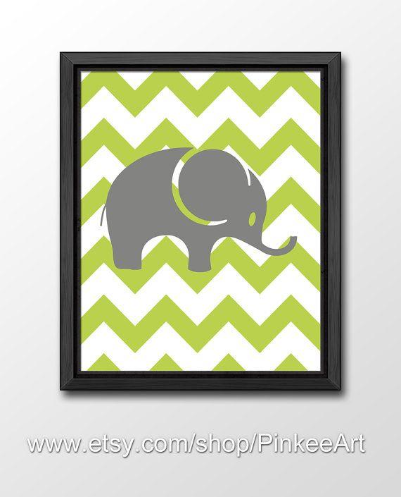 elephant chevron kids wall art, custom kids wall decor, baby boy nursery elephant, baby nursery decor, kids room decor, modern nursery by PinkeeArt, $11.00