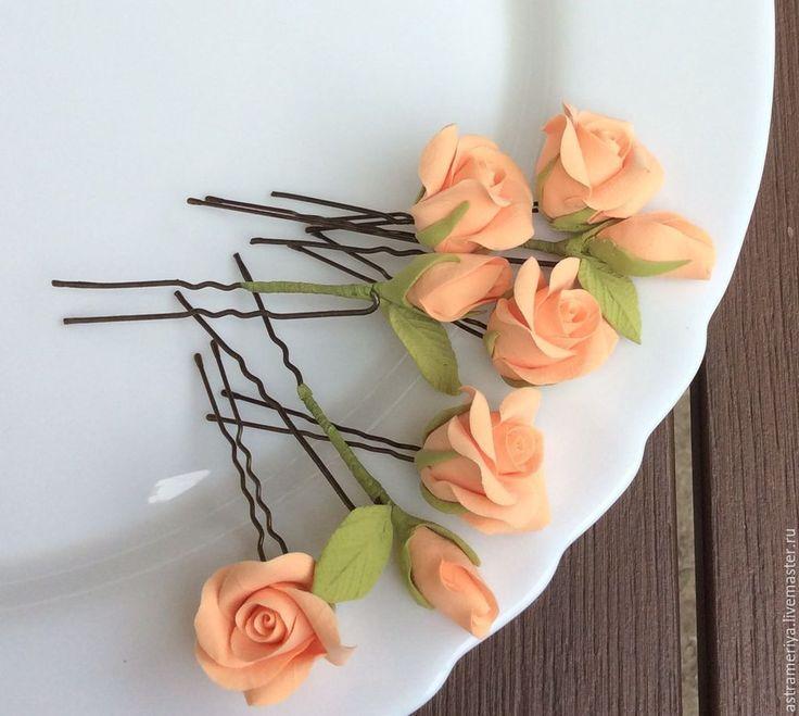 Купить Свадебные шпильки персиковые розы из полимерной глины - оранжевый, Персиковый цвет, персиковая свадьба