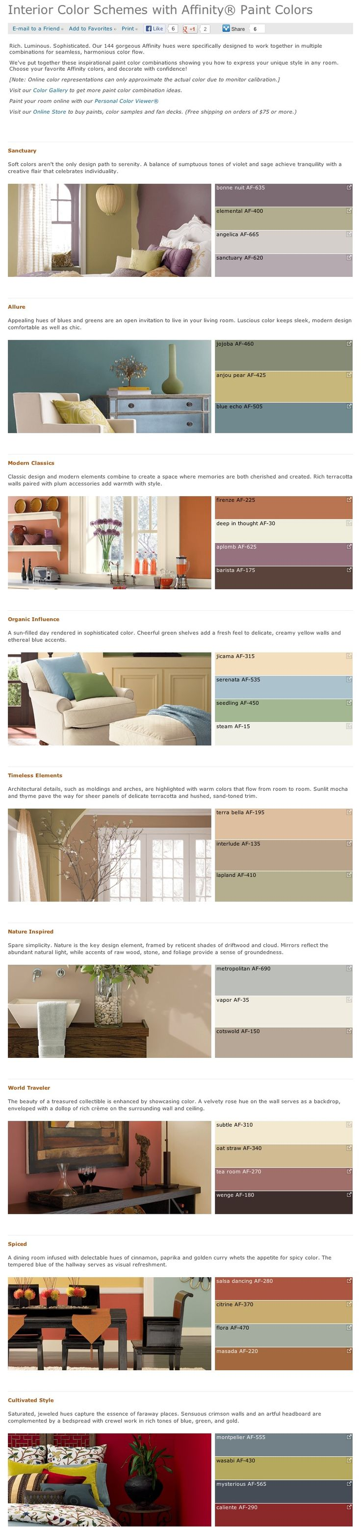 Favorite, popular, & best selling shades of interior paint color palettes by Affinity collection from Benjamin Moore.
