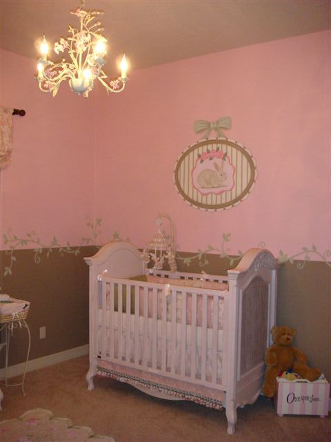 Shabby chic pink brown and green baby girls room with flair. A touch of Victorian and bunnies to boot!