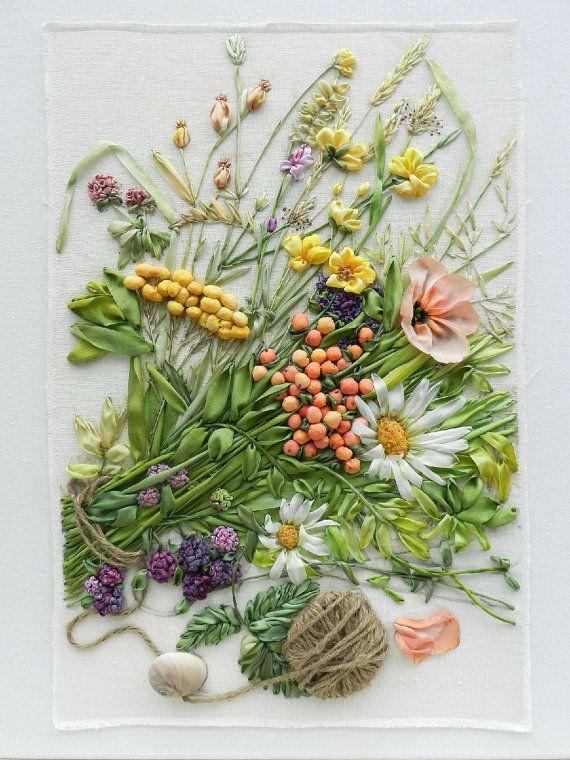 Wildflowers_1 bordado de cinta de seda por StudioSilkRose en Etsy