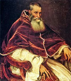 Week 14, Timeline, Image/Info, Council of Trent    Pope Paul III invoked the Council of Trent...The council issued condemnations on what it defined as Protestant heresies and defined Church teachings in the areas of Scripture and Tradition, Original Sin, Justification, Sacraments, the Eucharist in Holy Mass and the veneration of saints. It issued numerous reform decrees.  [Wikipedia]
