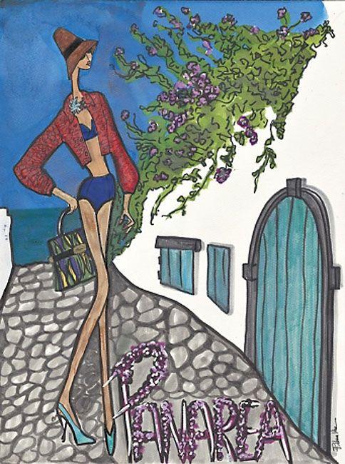 Un immaginario viaggio in Italia illustrato dai disegni di Rebecca Moses per Marie Claire. in mostra a Milano, dal 18 al 24 febbraio, in via della Spiga.