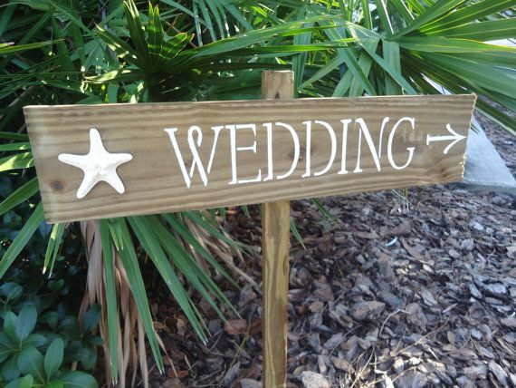Beach Wedding Directional Sign Starfish by ifTREEScouldTALK, $44.00