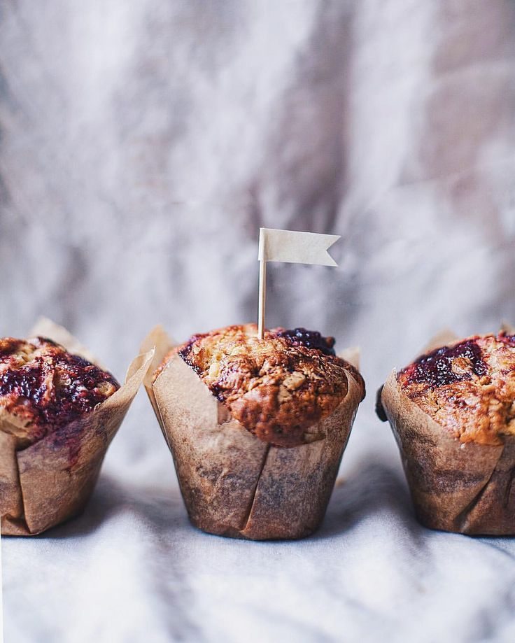 That's what I love the most - muffins! These are PB&jam muffins, made with homemade strawberry jam and organic peanut butter #peanut #butter #strawberry #jam #muffins