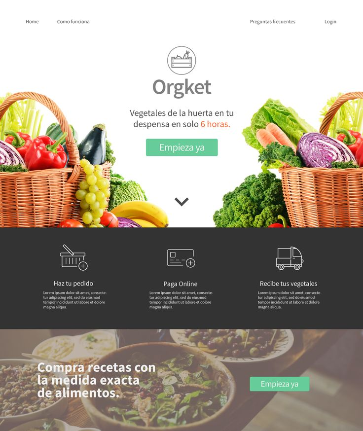 Landing page for organic food app