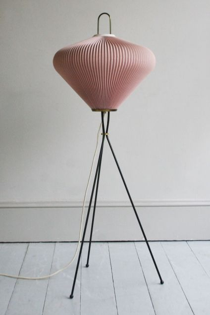 1950s FRENCH PINK PLEATED FLOOR LAMP - Howe