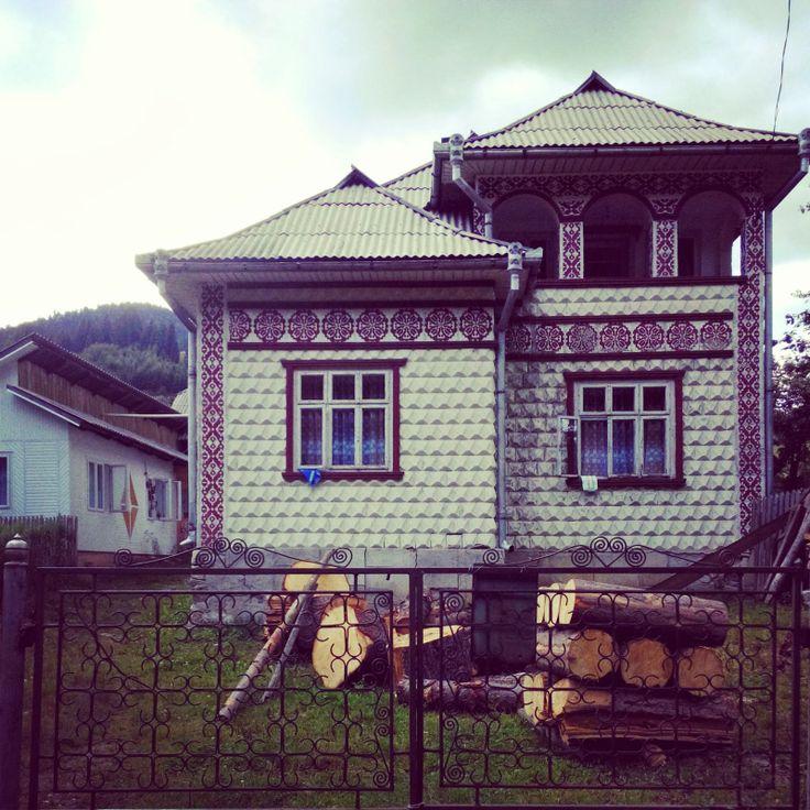 traditional houses in Slatioara, village in Suceava, Romania,