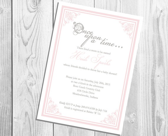 once upon a time invitation ( birthday or baby shower ) [digital, Baby shower invitations