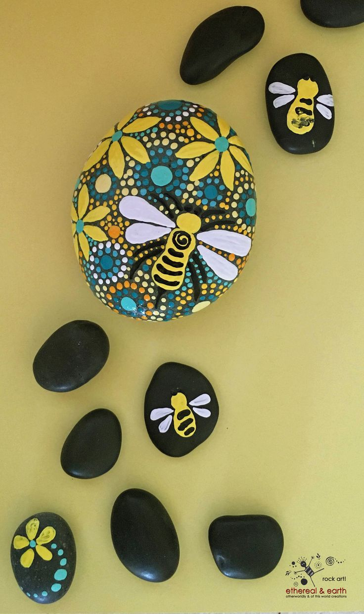Painted Stone - Bee Motif Design - Mandala Inspired Design - Rock Art - yellow shades of orange collection #33 - $26.00 - FREE SHIPPING! ethereal & earth - otherworldly & of this world creations.