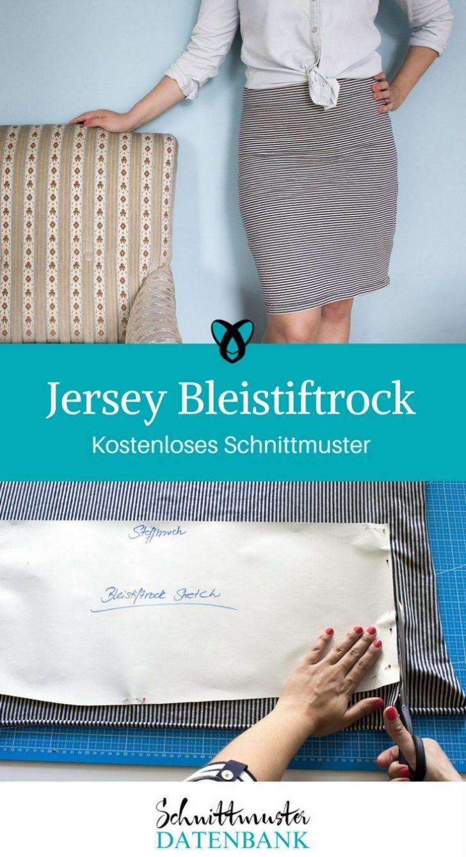 39e9f7ff4ce7 Jersey Bleistiftrock Schnittmuster kostenlos Rock aus Jersey eng knielang  gratis Freebie Freebook nähen Nähideen Ideen