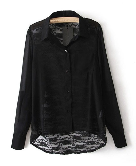 Black Chiffon Shirt with Lace Insert Details