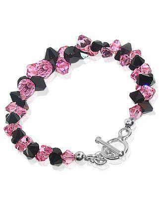 Sterling Silver Pink and Black Cluster Style Austrian Crystal Bracelet 7.5 inch Made with Swarovski Elements Gem Avenue. $33.99. Made in USA. Gem Avenue sku #SCBR047. Made with Swarovski Elements. Bracelet Comes with Secure toggle clasp. Length of this Bracelet is 7.5 Inches. Save 64% Off!