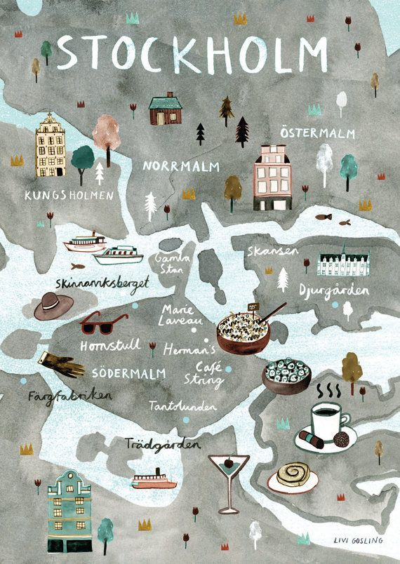 Stockholm Illustrated Map - Swedish Art Print - City Map Poster  Scandi style illustrated map print of Stockholm, Sweden. The perfect poster / wall