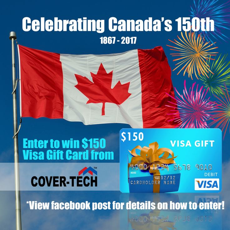 *** GIVEAWAY ALERT! ***    Celebrate Canada 150 with a $150 Visa Gift Card! We are giving away a $150 CAD Visa Gift Card to 1 lucky winner!    Here's all you need to do to win:  1. Like our Facebook Page, Cover-Tech Inc. (required to win) 2. Like and share this post, make sure the post is public so we can see it! 3. Comment liked and shared! 4. For additional entry, subscribe to our newsletter on our website www.cover-tech.com