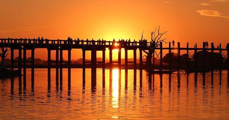 U Bein Bridge Mandalay Myanmar at sunset  - @theglobalcouple on Instagram