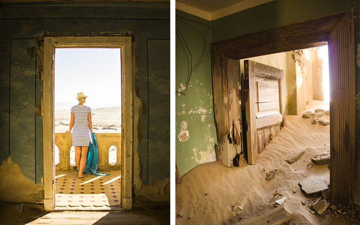 Wearing a cotton striped dress and favourite panama during my visit to Kolmanskop... perfectly practical and cool for the desert!