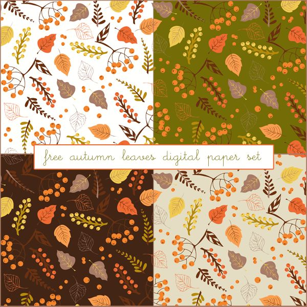 "Just Peachy Designs: Free ""Autumn Leaves"" Digital Paper Set"