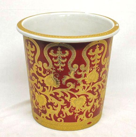 $101 Red U0026 Gold Scroll Porcelain Wastebasket ...