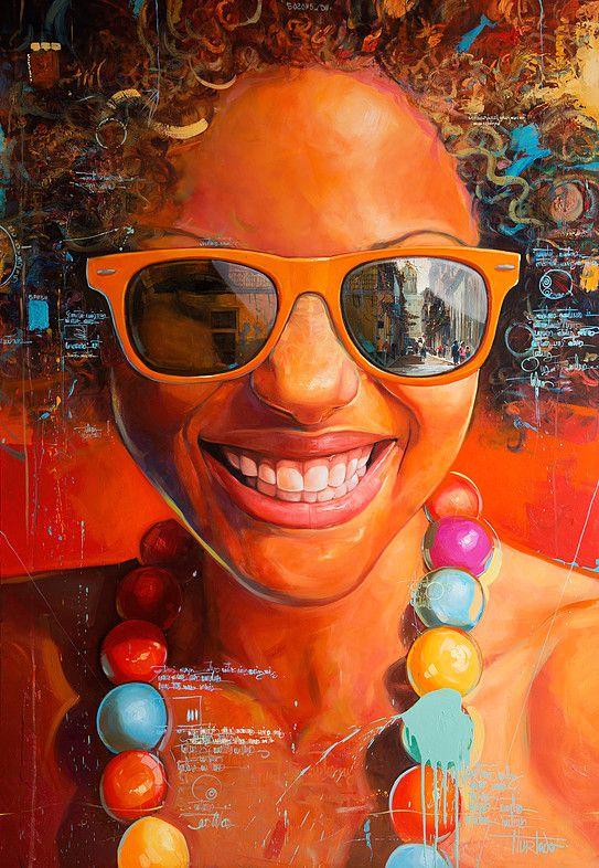 """Estilos"" - Junior Hurtado, oil on canvas {figurative art beautiful female head sunglasses smiling woman face painting #loveart} yuniorhurtado.net"