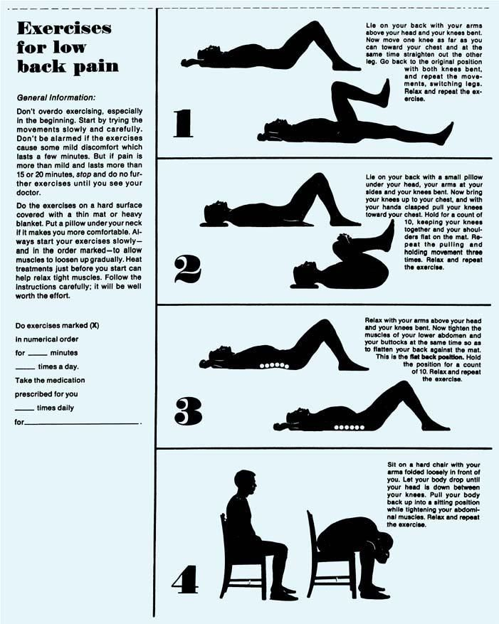 Williams Low Back Exercises Hand Out