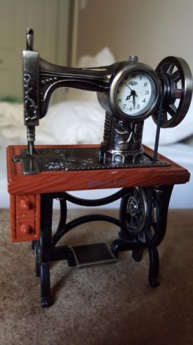 Sanis-Sewing-Machine-Table-Miniature-Metal-Clock-4-034-Tall