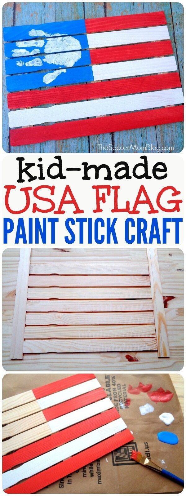 This Wooden American Flag is an easy kids craft that adds an special touch to holiday decor. Makes an adorable keepsake gifts for family & friends!