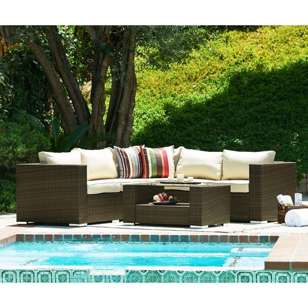 The Hom Kessler Brown Outdoor Wicker Sectional Sofa Set   Overstock  Shopping   Big Discounts On Sofas, Chairs U0026 Sectionals