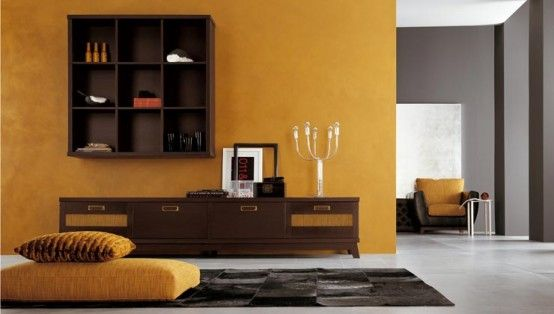 Amazing Ethnic Living Room Designs : Amazing Ethnic Living Room Design With Yellow Grey Wall Color Sofa Pilloe Wooden Table Cabinet Candle C...