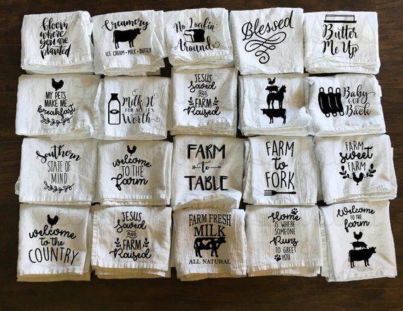Farm Kitchen Towel Flour Sack Towel Cow Bread