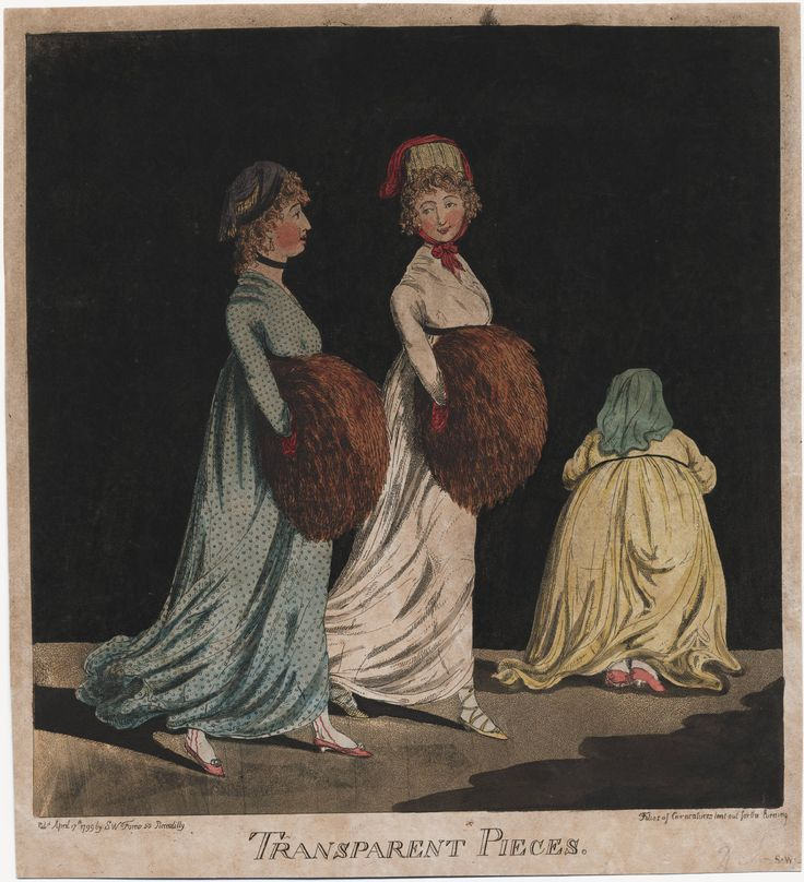 'Transparent pieces'. Very subtle outlines of ladies legs and bums beneath the new flimsy dresses! Lewis Walpole Library Digital Collection 1799