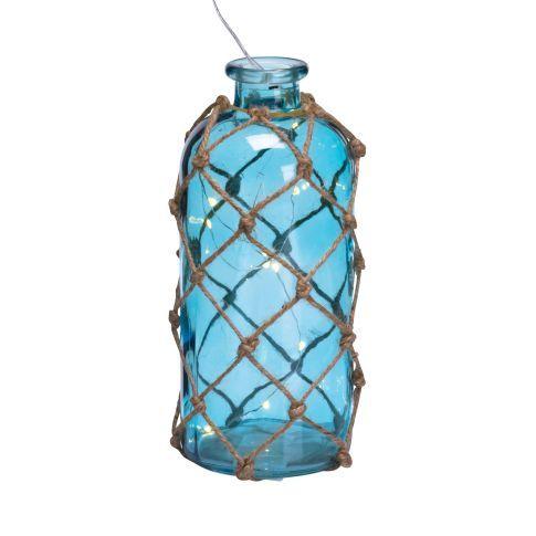 Deko-Flasche mit LED- Lichterkette Net, Maritimer Look, Glas, Jute, LED