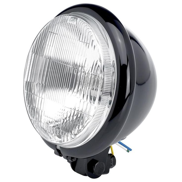 "Cycle Standard - 5-3/4"" diameter Black Bottom Mount Halogen Headlight $58"