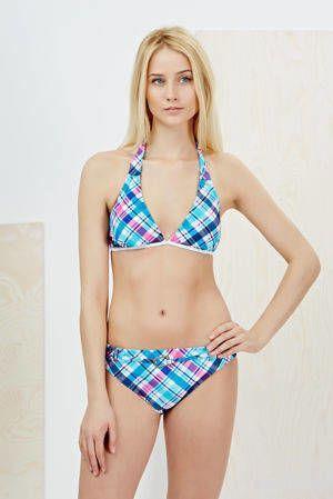 Bikini w nadruk w kratkę z doszywanym paskiem - 3515