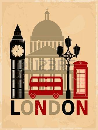 Cartel estilo retro con s mbolos y monumentos de Londres Foto de archivo