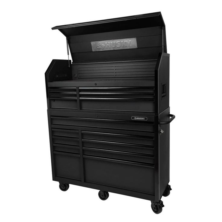 Husky 52 in w 20 in d 15 drawer tool chest and cabinet Home depot husky garage cabinets