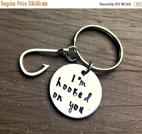 I'm hooked on you, Fishing Key Chain, Country Boy Gift, Anniversary Gifts, Birthday Gifts, Hunter, Father's Day Gift, Fishing, Hook Charm