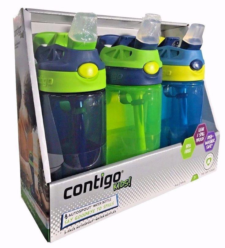 Contigo Kids Autospout Water Bottles Spill Proof Navy Blue/Green/Blue 3 Pk #Contigo