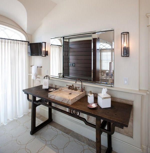 Web Image Gallery Contemporary Bathroom with Wooden Ecletic Bathroom Vanity and Large Mirror Creating Stylish Bathroom with Bathroom Vanity