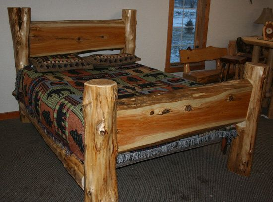 Log Furniture, Log Bed With Drawers,