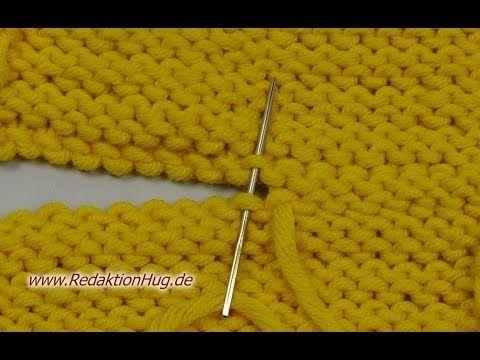 Stricken - Maschenstich bei linken Maschen - Zusammennähen - YouTube