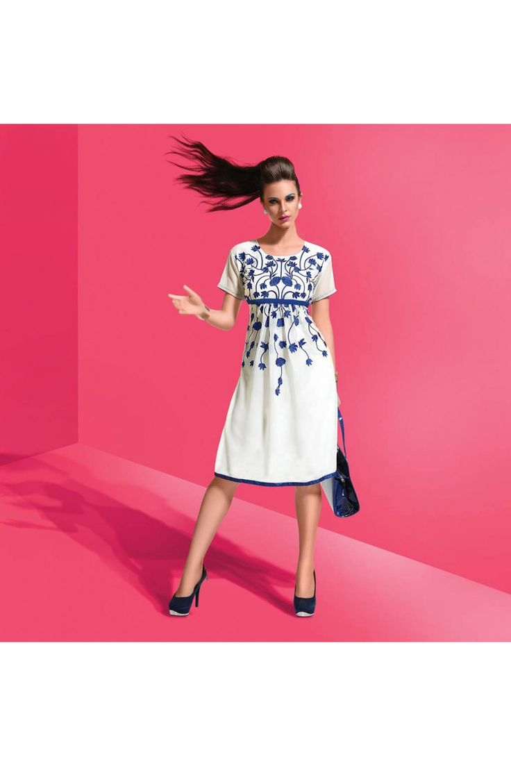 This 60 GM Georgette White Dress Is The Fun Attire Of The Moment. Get It On And Style It With A Handbag And Earings For The Perfect Day Look. Its Casual Wear And Cute - The Essentials For Your Wardrob...