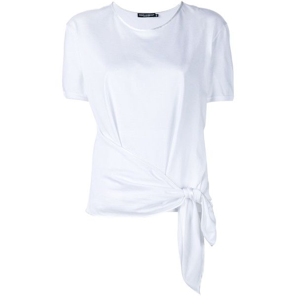 Dolce & Gabbana Knot Cotton And Silk T-Shirt ($290) ❤ liked on Polyvore featuring tops, t-shirts, shirts, white, summer t shirts, knot top, white t shirt, dolce gabbana shirt and tee-shirt