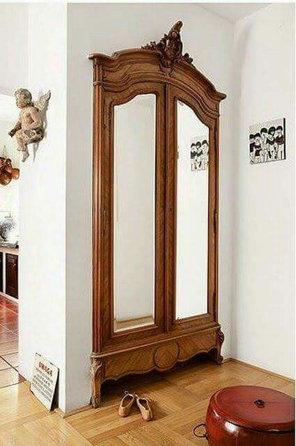 Closet doors transformed using armoire front.
